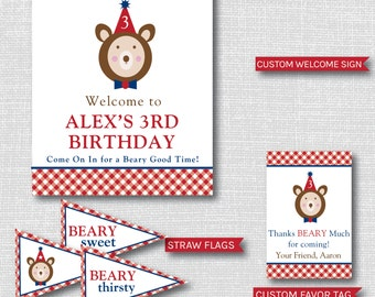 Boy Teddy Bear Birthday Printable Party Package - Picnic Party - Teddy Bear Birthday Party Decor - DIGITAL DESIGN