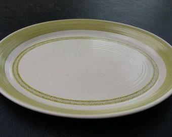 On Sale Franciscan Hacienda Large 13.75 inch Platter  Lime Green, White, Stoneware, Tribal, Geometric, Mid Century