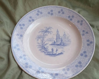 On Sale Antique China Alfred Leak in 8 inch  Luncheon Plate with Victorian Couple and Castle Scene