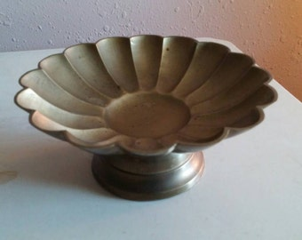 Collectible Brass Serving Dish Pedestal Bowl Home Decor