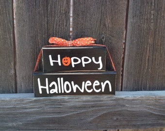 Happy Halloween wood blocks--pumpkins home decor
