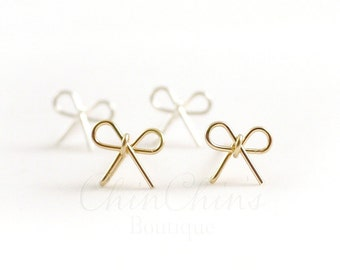 Little Bow Stud Earrings - Sterling Silver or Gold Filled, Bridesmaid Gift