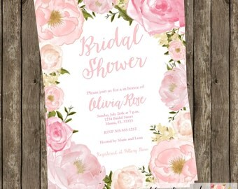 Watercolor Floral Bridal Shower Invitation Modern Fresh Birthday Baby Shower Party CHOOSE WORDING Watercolor Flowers Wreath