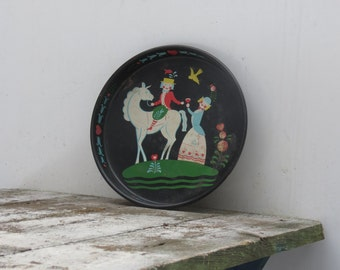 Vintage Painted Metal Serving Tray Horse Decor