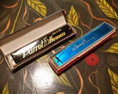 Pair of Harmonicas 24 Hole C 1960s Parrot China Carnival Prize Blue Black Stocking Stuffer in Original Box VF