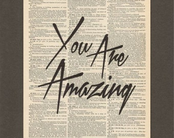 You Are Amazing, Vintage Bike, Dictionary Art Print, Upcycled Dictionary Page, Old Book Art, Decorative Wall Art, 021