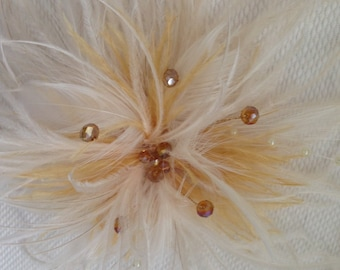 "Cream eggshell Ivory bridal ostrich feather hair clip fascinator.  Approximately 5-6"" diameter.                     Smoke free studio."