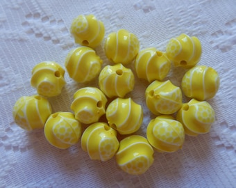 17  Bright Lemon Yellow & White Carved Swirl Round Acrylic Beads  11mm