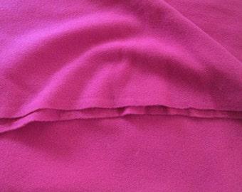 Vintage Wool Flannel Sewing Fabric Fuchsia Pink Half Yard Dolls