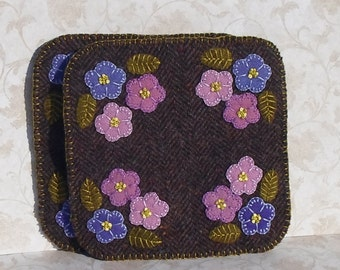 Handmade Felted Wool Violets Mug Mats