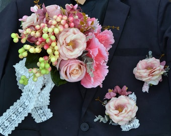 handmade artificial flower wedding bridal bouquet pink rose fruit