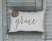 Grace Decorative Pillow, Grace, Decor Pillow, Simple Pillow, Rosette