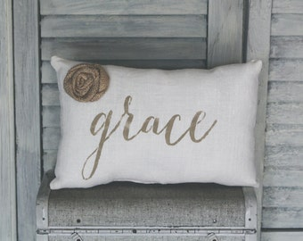 Grace Decorative Pillow, Grace, Home Decor Pillow, Simple Pillow, Rosette burlap pillow fabric pillow 14x9 pillow