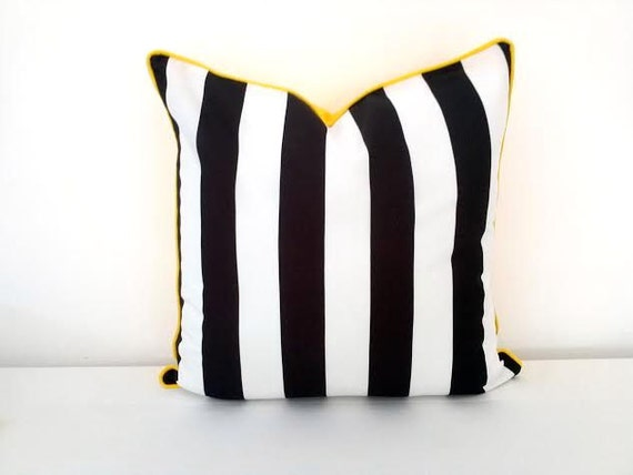 Black And White Stripe Outdoor Throw Pillows : Black and White Striped Throw Pillow 20 by 20 by CushionsandMore