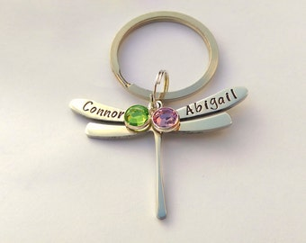Personalised dragonfly keyring - personalized dragonfly keychain - dragonfly gift - dragonfly present - personalised gift for her mum mom