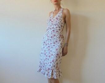 1980s Lovely Floral  Vintage Summer Spring Long  Dress.