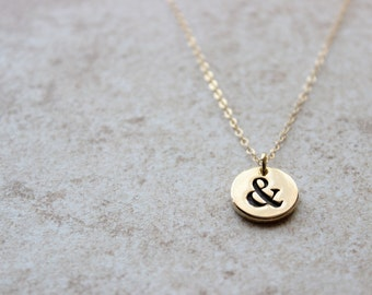 Gold Ampersand Pendant Necklace - Minimalist Simple Layering Everyday