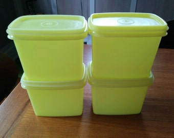Vintage Tupperware Shelf Saver Stackable Containers Set of Four Lemon Yellow