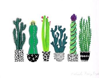 Cactus Row Original Painting