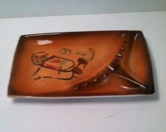 Large Vintage Ceramic Ashtray with Lucky Strike cigarette Pack Decoration