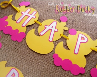 Hot Pink & Yellow Rubber Ducky Birthday Banner