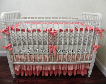 Custom Baby Bedding Set Amber - Girl Baby Bedding, Gold Baby Bedding, Coral Crib Bedding, Ruffle Skirt