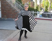 Handknitted Lagenlook  Stripes Structured dress/tunic