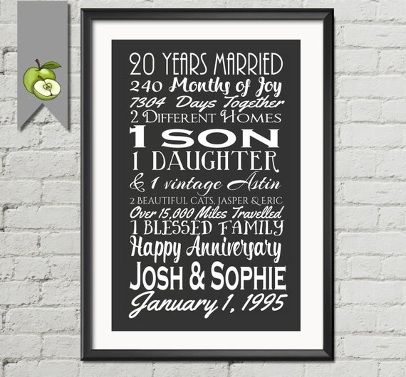 20th Wedding Anniversary Gift Ideas For Wife: Big 20th Anniversary Gift Wife Gift Husband Mom Subway I