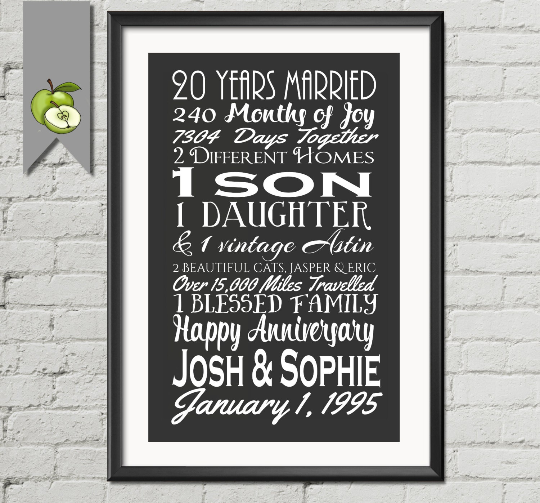 20 Years Wedding Anniversary Gifts: Big 20th Anniversary Gift Wife Gift Husband Mom Subway I