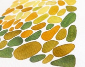 """Original watercolor painting/Abstract Painting/Green Art/Minimal Art/Geometrical Art/ """"Lovely Stones"""""""