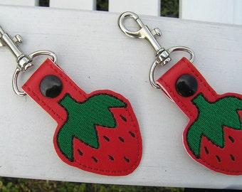 Embroidered Strawberry Key Fob-Summertime key fob-Fruit key Fob-Snap Tab