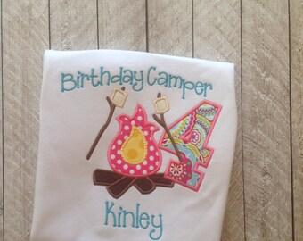 Birthday Camper Applique Shirt-applique birthday shirt-marshmallow campfire-personalized birthday shirt-camper shirt-