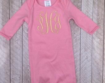 Pink and gold Ruffle newborn gown-newborn gift-pink gold newborn set-baby shower gift-newborn monogram set-ruffle newborn gown