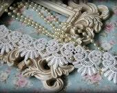 "White Lace Fabric Trim, Lace Fabric, Guipure Lace, Venice Lace, Bridal Lace, Costume Design, Lace Applique, Crafting Lace, 2.25"" BN-014"