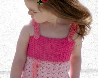 Gracie Lace Tank - PDF crochet pattern - summer, tank top, girls, lace up