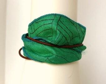 Green Bracelet, Silk Bracelet, Boho Chic Bracelet, Leather Bracelet, Magnetic Clasp, Sari Silk Bracelet, Sari Silk Ribbon, Wrap Bracelet