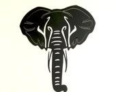 African Elephant 16 Gauge Steel 14 Inch X 12 1/2 Metal Wall Art