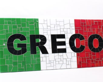 Personalized Mosaic Italian Flag Family Name Sign for Indoor or Outdoor Use