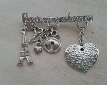 Vintage Bar Pin with Parisian Love Charms from 1990s. Paris Love!