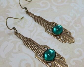 Art Deco Earrings Dangles Emerald Green Bridal Wedding May Birthstone