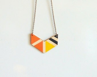 Neon Chevron Necklace, Wood Geometric Necklace, Hand Painted Wood Necklace,Geometric Jewelry