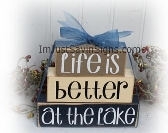 Life Is Better At The Lake Itty Bitty Wood Stacking Blocks