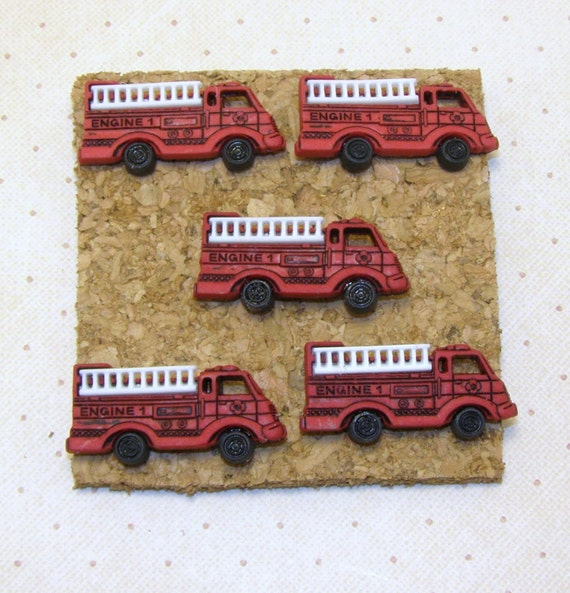Fire Decorative Boards : Firetruck push pushpins by charmedelegance