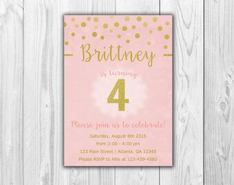 Pink and Gold Birthday Invitations - Digital File