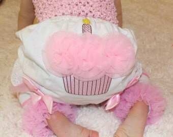 1st Birthday, Cupcake Bloomers, Birthday Bloomers, Photo Prop, Smash Cake, Baby Girl, Infant, First Birthday, Diaper Cover