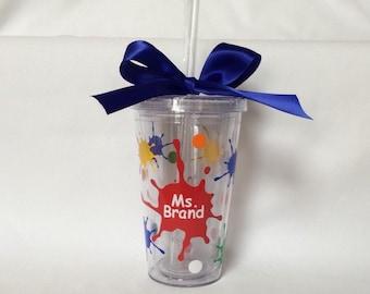 Personalized Art Teacher Tumbler, Teacher gift, art teacher gift, Teacher appreciation, paint splatter Tumbler, Teacher cup, artist tumbler
