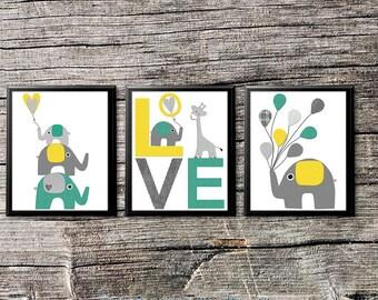 Grey, teal and yellow Nursery Art Print Set, Kids Room Decor, Children Wall Art - stacked elephants, elephant, love art, balloons, UNFRAMED