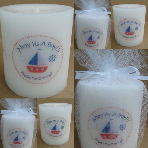ahoy its a boy baby shower candle favors personalized baby shower