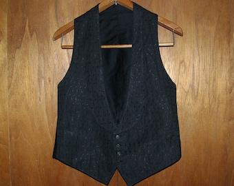 1920s-30s Shawl Collar Black Evening Waistcoat .: Small