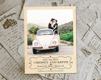 "Wedding Save The Date Magnets - CrimsonDrive Vintage Photo Personalized 4.25""x5.5"""